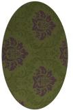 rug #598993 | oval green damask rug