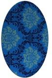 rug #599025 | oval blue damask rug