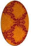 rug #599045 | oval red-orange damask rug