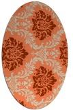 rug #599053   oval orange damask rug