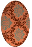 rug #599057 | oval red-orange damask rug