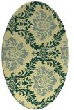 rug #599061   oval yellow damask rug