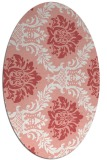 rug #599077 | oval white damask rug