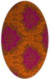 rug #599121 | oval red-orange damask rug
