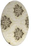 rug #599149   oval yellow damask rug