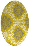 rug #599157 | oval yellow damask rug