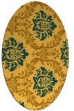 rug #599161   oval yellow damask rug
