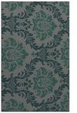 rug #599337    blue-green damask rug