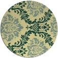 rug #599765   round yellow damask rug