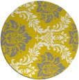 rug #599861 | round yellow damask rug