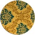 rug #599865   round yellow damask rug