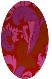 rug #600869   oval red damask rug