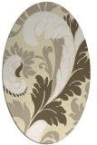 rug #600909 | oval white damask rug