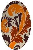 rug #600933 | oval orange damask rug