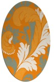 rug #600961 | oval light-orange damask rug