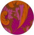 rug #601585 | round red-orange damask rug