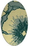 rug #609621 | oval yellow graphic rug
