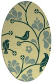 rug #620181   oval yellow graphic rug