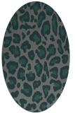 rug #623625   oval green animal rug