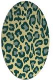 rug #623701   oval yellow animal rug