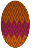 rug #627281 | oval red-orange retro rug