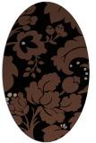 rug #628793 | oval brown damask rug