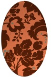 rug #628977 | oval orange damask rug