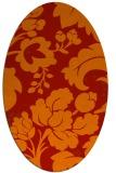 rug #629021 | oval orange damask rug