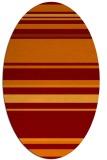 rug #634245   oval red-orange stripes rug