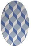 rug #635857   oval blue retro rug