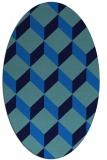 rug #635985   oval blue retro rug