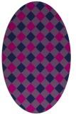 rug #639365 | oval blue check rug