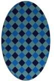rug #639505 | oval blue check rug