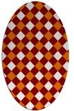 rug #639529   oval orange check rug