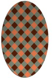 rug #639537 | oval red-orange check rug