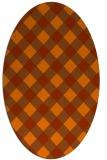 rug #639593 | oval red-orange check rug