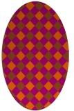 rug #639601 | oval red-orange check rug