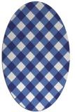 rug #639617 | oval blue check rug