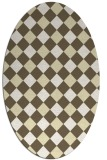 rug #639629 | oval yellow check rug