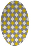 rug #639637 | oval yellow check rug