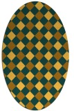 rug #639641 | oval yellow check rug