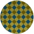rug #640101 | round blue-green check rug