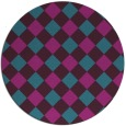 rug #640105 | round blue-green check rug