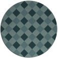 rug #640113 | round blue-green check rug