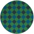 rug #640121 | round blue-green check rug