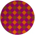 rug #640305 | round red-orange check rug