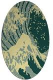 rug #650101 | oval blue-green rug