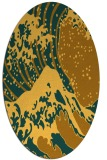 rug #650201 | oval yellow graphic rug