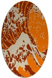 rug #650213 | oval orange graphic rug