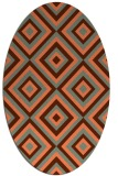 rug #662417 | oval red-orange geometry rug